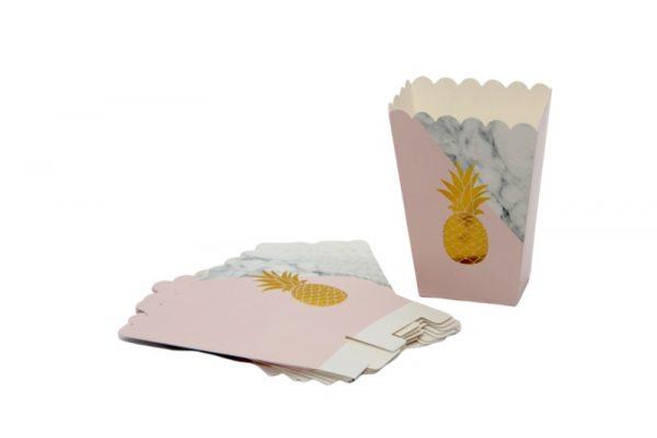 10 קופסאות פופקורן אננס שיש מוזהב